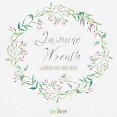 Watercolor Wreath Jasmine Flower. Individual PNG files. Hand Painted Wedding wreath. Instant Download Digital Wedding Invitations