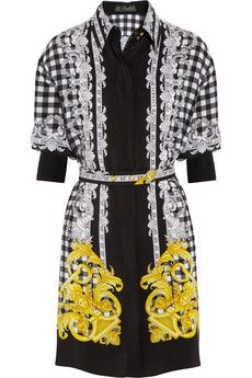 Versace Printed silk-crepe mini dress | NET-A-PORTER
