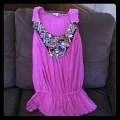 5 HOUR SALE Dressy Top Beautiful pink dressy tank top. The front on top is all beaded. It cuts off at waist and flows. Very cute just doesn't fit  Charlotte Russe Tops Tank Tops