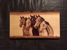 Horses wood burnt art