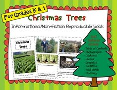 This is an 11 page reproducible book (informational/non-fiction text) written specifically for kindergarten and first grade students!   Subtitles include: -Where Christmas Trees Grow -Types of Christmas Trees -Growing Christmas Trees -Christmas Tree Farms -Recycling Christmas Trees  Text Features include: -Table of Contents  -Photographs -Captions -Labels -Graphics -Subtitles -Special Print (bold words) -Glossary  Books are easy to assemble.