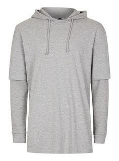 Grey Double Layered Hoodie - Men's Hoodies & Sweatshirts - Clothing - TOPMAN