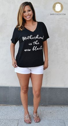The Motherhood is the New Black tee is the perfect classic statement tee for every mom. Available at www.baby-chick.com.