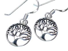 Sterling Silver Round Tree Of Life Drop Earrings Tree Of Life Jewelry, Butterfly Jewelry, Sterling Silver Jewelry, Washer Necklace, Drop Earrings, Women, Drop Earring, Woman
