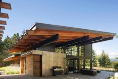 Cabin meets net-zero targets even in extreme temperatures. Coates Design Architects crafted the Tumble Creek Cabin to net-zero energy standards using renewable energy and passive solar strategies. Contemporary Cabin, Contemporary Architecture, Contemporary Interior, Interior Architecture, Contemporary Apartment, Contemporary Chandelier, Contemporary Landscape, Amazing Architecture, Cabana