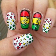 Instagram photo by 101nailfreak - Rasta Nail Art for today♡ I love rasta colors and reggae music :) I have the full review of the Winstonia Nail Wraps on the blog so check it out. Link is in the bio. Thinking of doing a pictorial if you think I should let me know. Or any nail art requests?