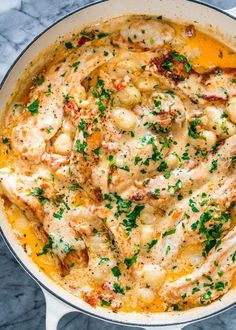 This Creamy Sun Dried Tomato Chicken Gnocchi is so comforting, simple and satisf. - This Creamy Sun Dried Tomato Chicken Gnocchi is so comforting, simple and satisfying. These juicy c - Italian Recipes, New Recipes, Dinner Recipes, Cooking Recipes, Favorite Recipes, Healthy Recipes, Recipies, Cooking Kale, Weeknight Recipes
