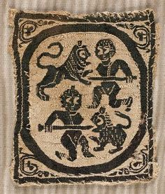 Coptic tunic ornament: Two Hunters Battling Lions, 5th-6th c.