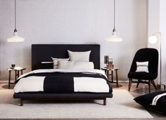 INJIRI bedding, Shadows Solo glass lamp by BROKIS, Solo Lounge chair and Frame bed by NERI & HU