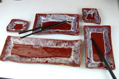 Five+Dish+Sushi+Set+in+Red+by+pagepottery+on+Etsy,+$78.00