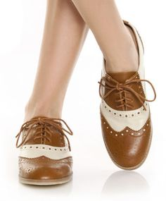 Wanted Myrtle Tan & Beige Spectator Lace Up Oxford Flats