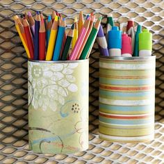 Re-purpose a soup can with scrapbook paper and mod podge. by ana