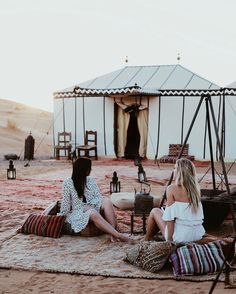Desert Luxury Camp in Morocco. Obsessed with these printed pillows!