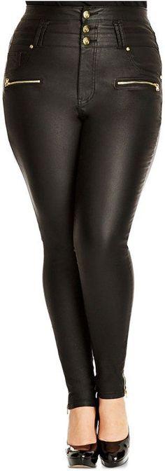 Plus Size Faux-Leather Leggings