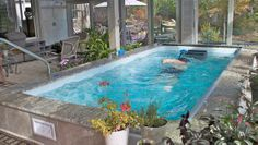 An Endless Pool has many advantages over a fiberglass pool construction. See the comparison for yourself. Fiberglass Pool Cost, Fiberglass Swimming Pools, Endless Pools, Swimming Pool Pictures, Inside Pool, Beach Shade, Pool Installation, Small Pools, Garden Pool