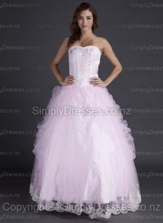 BallGown Sweetheart Tulle Satin Floor-length Pink Appliques Quinceanera Dress at simplydresses.co.nz