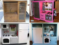 Entertainment unit repurposed into kids play kitchen. You can do that with lots of different furniture pieces.