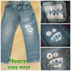 Monster Knee Patch using a denim repair patch a fabric scrap and felt for teeth/eyes. Sewn completely by hand with embroidery floss.