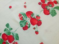 Vintage Strawberry Tablecloth 1950's Printed by AStringorTwo