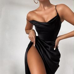Ball Dresses, Satin Dresses, Elegant Dresses, Pretty Dresses, Sexy Dresses, Beautiful Dresses, Evening Dresses, Fashion Dresses, Black Satin Dress