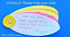 Classroom Thank You Card Flower: Kids write individual Thank You Notes - Classroom Thank You Card – thank you from the class for substitute teachers or guest speakers.