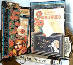 Graphic 45 Vintage Hollywood Four Fold Folio Tutorial by Kathy Clement for Frilly and Funkie Photo 12