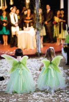 """Flower fairies"" -- flower girls with wings"