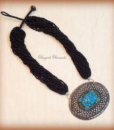Elegant Elements - Hot selling!!! big turqouise pendent black seed bead necklace