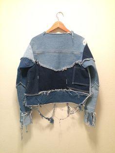 64 Super Ideas Patchwork Jeans Diy Inspiration - Image 7 of 25 Zerfetzte Jeans, Mode Jeans, Patchwork Jeans, Denim Fashion, Look Fashion, Curvy Fashion, Street Fashion, Fall Fashion, Fashion Trends
