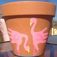 Kids Handprint Flamingo Flower Pot Craft