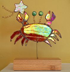 Whimsical crab with shooting star -  stained glass sculpture