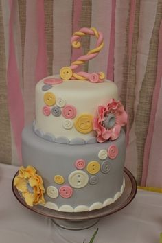 Cute as button theme in yellow, pink, grey and white