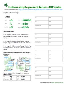 Preview Of Italian Simple Present Tense Are Verbs Review And Conjugation Tables By Ab For