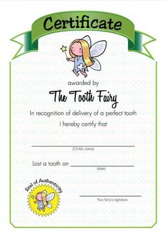 Download Your Free Tooth Fairy Certificate for Dental Achievement Tooth Fairy Certificate, Perfect Teeth, Kid Names, Parenting Advice, Dental, Children, Free, Young Children, Parenting Tips