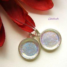 Gentle Moon Glow Iridescent Dichroic Round Glass Dangle Earrings   | Umeboshi - Jewelry on ArtFire
