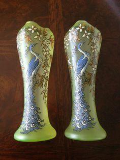 Set of Two RARE Legras Glass Vase Peacock   eBay