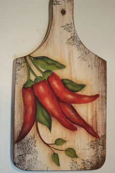 Chili peppers on cutting board red - Wood Burning Crafts, Wood Burning Patterns, Wood Burning Art, Wood Crafts, Diy And Crafts, Arts And Crafts, China Painting, Tole Painting, Fabric Painting