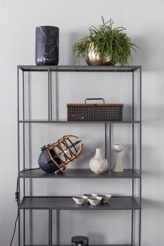 Son features a slim, open, iron frame with shelves to hold your most precious possessions while keeping them in full sight Shelving Systems, Open Shelving, Modular Shelving, Innovation Living, Bibliotheque Design, Unique Shelves, Black Table Lamps, Bookcase Shelves, House Doctor