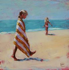 #1 -towel series -beach scenes, painting by artist Debbie Miller