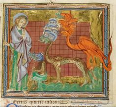 St John looking at Unclean Spirits Issuing from the Mouth of the Dragon, Beast and False Prophet, f60v,Add MS 42555.'The Abingdon Apocalypse', 3rd quarter of 13th century. Revelation 16:13