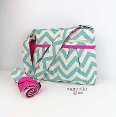 Stella DELUXE Chevron Diaper Bag & Changing Mat - Medium - Blue Chevron with Hot Pink-READY to SHIP Nappy Bag Attach to Stroller by marandalee on Etsy