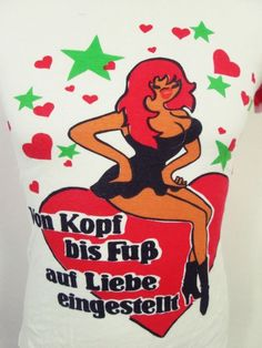 Vintage 80s Boobs Lady German Rude Sexy Cartoon Skinny Stretch Euro T-Shirt XS