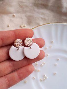 Camel MARIA dangles  Handmade clay earrings  Statement dangle earrings  Beige Burgundy Peach Teal  Oval clay earrings