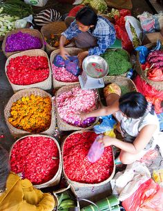 Ubud, Bali Indonesia- flower petals for offerings.  Every morning at each door step. Sacred.