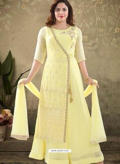 Yellow Georgette Readymade Heavy Designer Suit