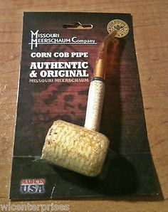 Missouri Meerschaum Legend Corn Cob Pipe - Clear Bent Stem (Packaged)