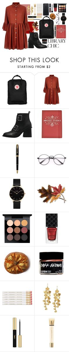 """""""kate bush - wuthering heights"""" by amylewin ❤ liked on Polyvore featuring Fjällräven, Mela Loves London, Parker, CLUSE, Anne Klein, MAC Cosmetics, Gucci, Couture Colour, Tory Burch and Yves Saint Laurent"""