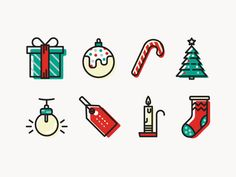 Free Christmas Icons #magdagogo #free #freebie #christmas #icons #download #dribbble #vector