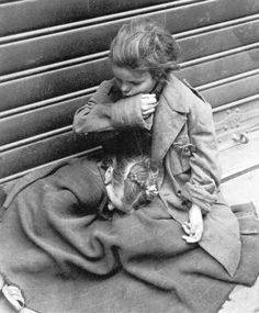 Homeless orphaned sisters on a street in Rome 1945-1948. Tony Frissell photography