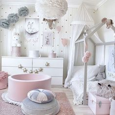 Magical and Feminine Toddler Room - Grey, white and soft pinks